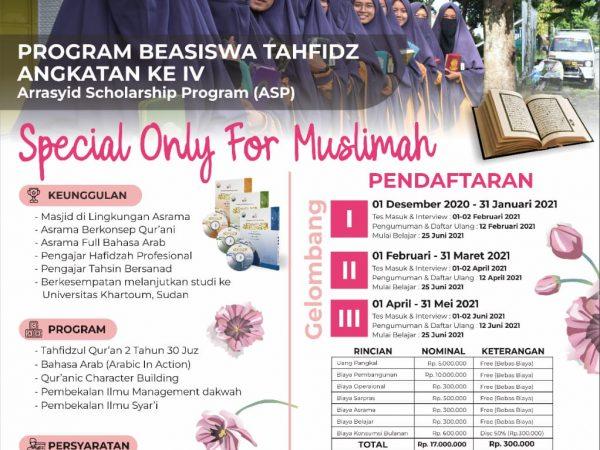 Pendaftaran Calon Siswa Baru Program Beasiswa Khusus Muslimah